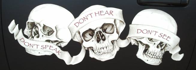 horen zien en zwijgen cartoon